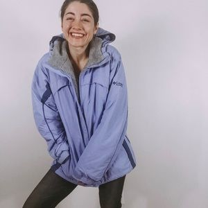 Columbia Blue Sportswear Hooded Ski Jacket
